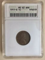 1911-S MINT STATE 62 BRN LINCOLN CENT HIGH GRADE BETTER DATE