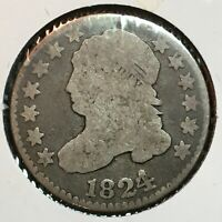 1824/2 OVERDATE    GOOD/VG   CAPPED BUST DIME   COIN