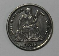 1876-S SEATED LIBERTY DIME SHIPS FREE