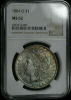 1884-O MORGAN $    NGC  MINT STATE 62 TWO SIDED RAINBOW TONED