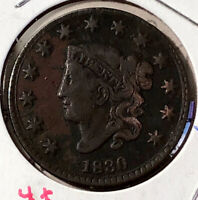 1830 1C N-10 CORONET OR MATRON HEAD LARGE CENT UNSLABBED