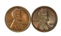 LOT OF 2 1918 P LINCOLN WHEAT CENT PENNIES AU / AU CLEANED 153385