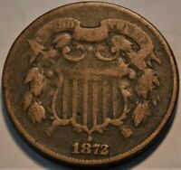 1872 TWO CENT PIECE SCARCE KEY DATE COIN LOWER TO MIDDLE GRA