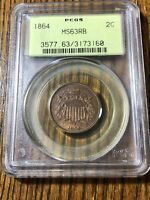 1864 2C TWO CENT PIECE LARGE MOTTO PCGS MS63RB : NICE RED BR