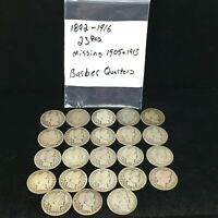 GROUP OF 23 SILVER BARBER QUARTERS 1892 1916  MISSING 1905 &