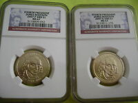 2007 JAMES MADISON P&D NGC SMS MINT STATE 67 SATIN FINISH 2-COIN DOLLAR SET