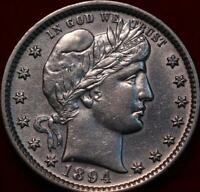 1894 PHILADELPHIA MINT SILVER BARBER QUARTER