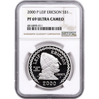 2000 P LEIF ERICSON PROOF SILVER DOLLAR COMMEMORATIVE NGC PF