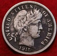 1915 S SAN FRANCISCO MINT SILVER BARBER DIME