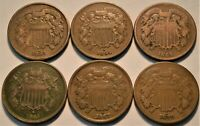 LOT OF  6  TWO CENT PIECES 1864 1865 1867 1870 2C BETTER DAT