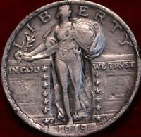 1919 S SAN FRANCISCO MINT SILVER STANDING LIBERTY QUARTER