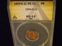1954-S     PENNY       ANACS MINT STATE 63