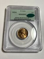 1934 PCGS MINT STATE 66RD CAC OGH WHEAT CENT OLD GREEN LABEL 2438