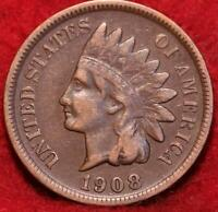 1908 S SAN FRANCISCO MINT INDIAN HEAD CENT