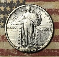 1924 STANDING LIBERTY SILVER QUARTER COLLECTOR COIN. SHIPS FREE