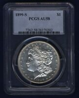 U.S. 1899-S MORGAN SILVER DOLLAR CHOICE ALMOST UNCIRCULATED, CERTIFIED PCGS AU58