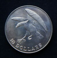 1974 SINGAPORE SILVER COIN 10 DOLLARS UNC EAGLE