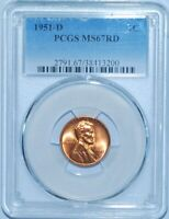 1951 D PCGS MINT STATE 67RD RED LINCOLN WHEAT CENT