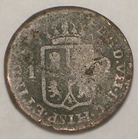 1834 PHILIPPINES ONE 1 QUARTO ARMS COIN WORN
