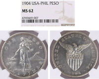 US/PHILIPPINES 1904 P ONE PESO NGC MS 62  10 000 MINTED