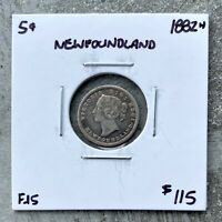1882 H NEWFOUNDLAND SILVER FIVE 5 CENT COIN   F/VF