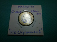 VARIETY  1 EURO 2002 GREECE  DIE CHIP DOWN ON 1  RARE COIN