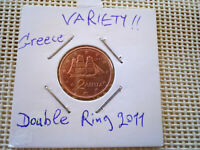 VARIETY  2 EUROCENT 2011 GREECE  DOUBLE RING  RARE COIN