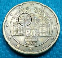 VARIETY  20 EUROCENT 2002 AUSTRIA  DIE CHIP ON LEFT  RARE CO