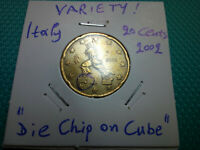 VARIETY  20 EUROCENT 2002 ITALY  DIE CHIP ON CUBE  RARE COIN