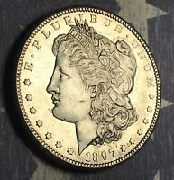 1897-S MORGAN SILVER DOLLAR BEAUTIFUL PROOF LIKE COLLECTOR COIN. SHIPS FREE