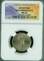 2010 P HOT SPRINGS ATB PARKS QUARTER NGC MS 66 BUSINESS STRI
