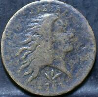 1793 VINE AND BAR FLOWING HAIR WREATH CENT IDHH570