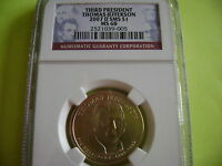 2007-D THOMAS JEFFERSON NGC SMS MINT STATE 68 SATIN FINISH DOLLAR COIN