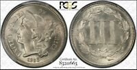 1866 3 CENT NICKEL PCGS MINT STATE 66 CAC