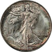 1943-S WALKING LIBERTY HALF DOLLAR - PCGS MINT STATE 65 CAC - COLORFUL AND SEMI-PROOFLIKE