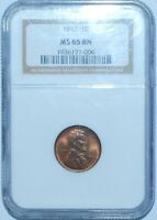 1912 NGC MINT STATE 65BN LINCOLN WHEAT CENT