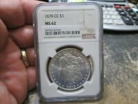 1878 CC US MORGAN SILVER DOLLAR NGC MINT STATE 62 UNCIRCULATED CONDITION