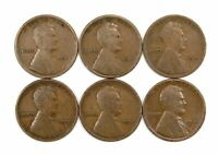 LOT OF 6 1915 P LINCOLN WHEAT CENT PENNIES F / F WITH LIGHT BLEMISHES 154023
