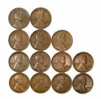 LOT OF 13 1924 P 1C LINCOLN WHEAT CENT PENNIES VF  FINE / VF 150425