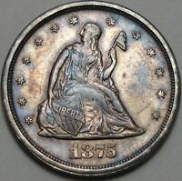 1875 S 20C SEATED LIBERTY TONED AU BU TWENTY CENT PIECE 90