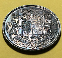 1940 SILVER 50 FIFTY CENTS OF CANADA TONED NOT GRADED BUT VE