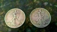 LOT OF 2 1939 WALKING LIBERTY HALF DOLLARS - TWO COINS CIRCULATED