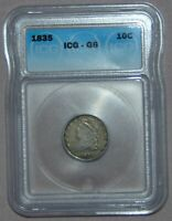 1835 CAPPED BUST SILVER DIME  ICG VG6,  COIN