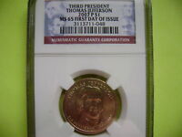 2007-P THOMAS JEFFERSON NGC MINT STATE 65 FIRST DAY ISSUE CIRCULATION STRIKE DOLLAR COIN