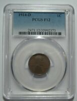1914-D PCGS F12 LINCOLN WHEAT CENT, CERTIFIED, KEY DATE, SHIPS FREE