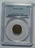1914-D PCGS EXTRA FINE 40 LINCOLN WHEAT CENT, CERTIFIED, KEY DATE, SHIPS FREE