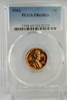 PR69RD 1962 PCGS GRADED PROOF LINCOLN MEMORIAL CENT CAMEO LOOK COIN RED PENNY