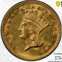 1874 G$1 INDIAN PRINCESS GOLD DOLLAR  - TYPE 3 - PCGS MINT STATE 62. LUSTROUS SURFACES.