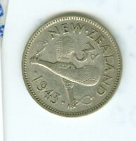 NEW ZEALAND 1943 3 PENCE--CIRCULATED--SILVER