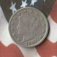 1901 UNITED STATES LIBERTY HEAD NICKEL 5 CENTS- DECENT EXAMPLE